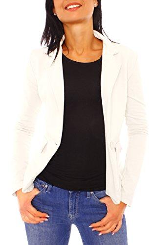 Damen Sommer Sweat Jersey Blazer Jacke Sweatblazer Jerseyblazer Sakko Kurz Ungefüttert Langarm Uni Einfarbig Creme L - 40 (XL)