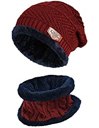 feda5fec487e04 Vbiger Warm Knitted Hat and Circle Scarf Skiing Hat Outdoor Sports Hat Sets