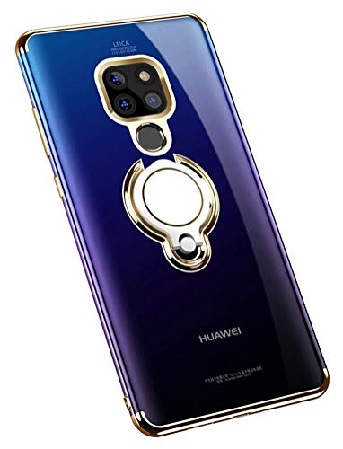 Huawei Mate 20 Pro Hülle Handyhülle Huawei Mate 20X Cover TPU Silikon Bumper Ring Stand Magnetische Autohalterung Slim Schutzhülle für Case Huawei Mate 20 Handy Hüllen (Huawei Mate 20 Pro, Gold)