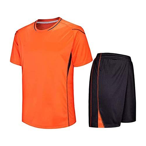 Meijunter Kind Erwachsene Fußball T-Shirt & Shorts Set - Team Training Wettbewerb Sportbekleidung Im Freien Kostüm Soccer Jerseys Uniforms, Orange, Tag 155-160CM = UK/EU/US/AUS 135-140CM