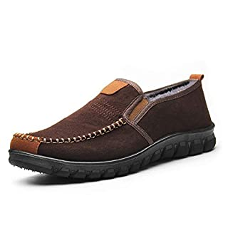 Men's House Slippers Plush Advanced Anti-Slip Moccasins Winter Shoes Indoor Outdoor Loafers Driving Shoes