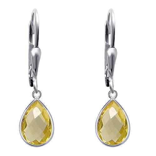 Pendientes de color amarillo para las mujeres | limón cuarzo joyería | plata de ley pendiente fijó | cuelga el pendiente Set | pendientes libres de níquel | Pendientes de cuarzo limón | (3,54 Ctw)