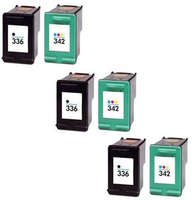 Prestige cartridge hp 336 / hp 342 cartucce d'inchiostro compatibile per stampanti hp photosmart/deskjet/officejet serie, 6 pezzi, nero/colore
