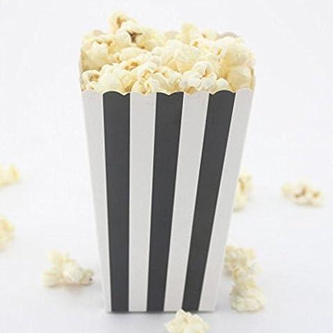 MH-RITA 6 Stk bunte Schale Umwelt verfügbaren Gestreifte Papier Popcorn Becher Party Geschirr Zubehör Hochzeit Einrichtung Partei liefert # 25, Schwarz