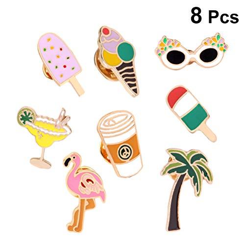 Amosfun Hawaii Themen Brosche Lustige Flamingo Saft Kokospalme Brillen Abzeichen Schmuck Revers Pin Kleid Zubehör für Frauen 8 Stücke (Gemischt)