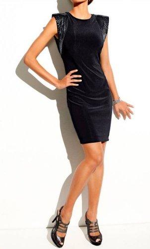 Heine Damen-Kleid Kleid mit Pailletten Schwarz Schwarz