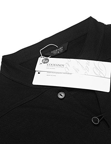 Coofandy Leinenhemd Einfarbig Herren Langarm Poloshirt mit Stehkragen Cooles T-Shirt Sommer Strand Party Club Casual Shirts Schwarz