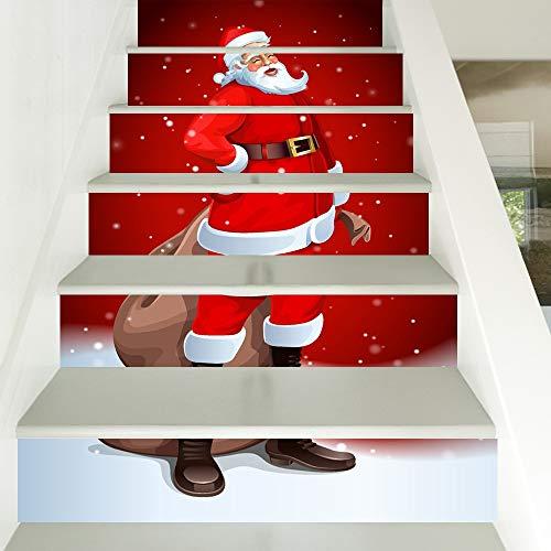 Havanadd Weihnachtsdekorationen Wandaufkleber Mehrfarben gedruckte Innenweihnachtstreppe-Wand-Aufkleber-Dekoration für Weihnachtsjahreszeit Restaurant Café Hotel Home Office Dekor