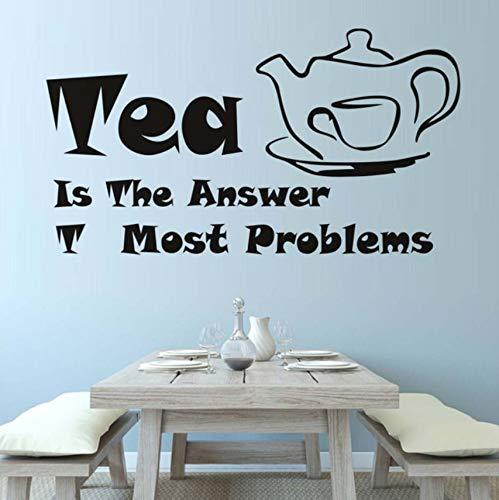 Hwhz 59X32 Cm Tee Ist Die Antwort Zitate Wandtattoos Teekanne Und Teetasse Muster Wohnkultur Diy Vinyl Abnehmbare Wasserdichte Küche Wandaufkleber