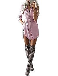 Yidarton Chemise Femme Longue à Manches Longues Boutonner Casual Cardigan Chemisier Robe Top Tunique Blouse Long