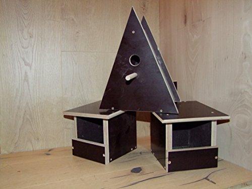 Montageservice Piskulla The-Wood-Man_76: 3er Set Vogelhäuser, Nistkästen, Bruthöhlen, Halbhöhle aus Siebdruck (Wetterfest).