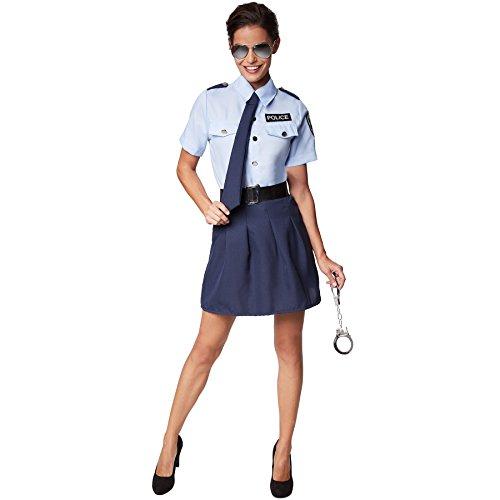 dressforfun Frauenkostüm Polizistin | Kurzer Rock, der die Beine betont | Cooles, sexy Hemd mit Police-Aufdruck | Inkl. Handschellen (M | Nr. 301514)