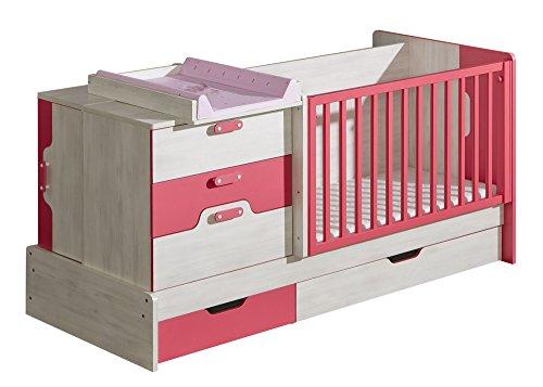 Preisvergleich Produktbild Gitterbett NUKI Mitwachsendes Babybett Kinderbett Multifunktionsbett mit Wickelauflage (Norwegische Kiefer - Himbeere)
