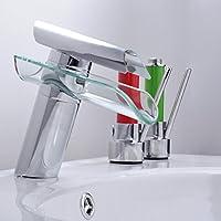 WYMBS Piastrelle in vetro rame rubinetto lavabo ,