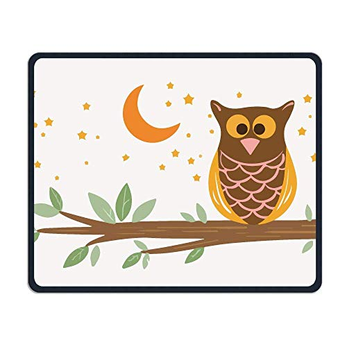 Owl Anti-Slip Personality Designs Gaming Gaming Mauspad Black Cloth Rectangle Mousepad Art Natural Rubber Mouse Mat with Stitched Edges 9.8x11.8 Inch ()