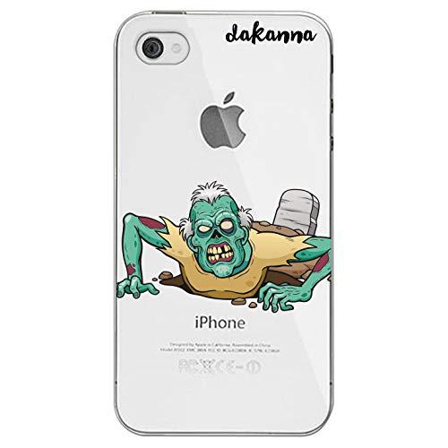 (dakanna Case Hülle für iPhone 4-4S   Zombie kommt aus dem Grab   Silikonhülle Transparenter Hintergrund)