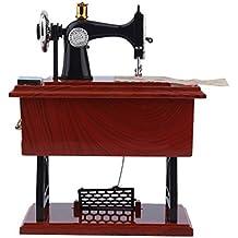 Isuper Joyero Mini mirada antigua máquina de coser mecánica caja de música para ...