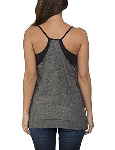Bench Maliha - T-shirt à manches longues - maternité - Sans manche - Femme Gris foncé/noir