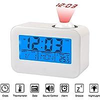 Relojes de Proyección Pantalla LCD Reloj Despertador con Temperatura Fecha Calendario Control de Voz Proyección de Techo Reloj Digital
