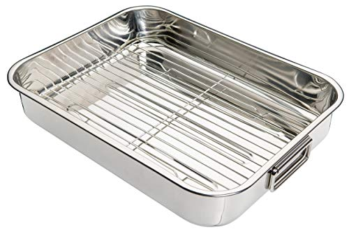 Kitchen Craft - Fuente de Horno Rectangular con Rejilla Acero Inoxidable, Color Plateado