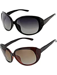 Y&S Classic UV Protected Combo Set Of 2 (Black Brown) Butterfly Mirrored Mercury Reflector Oversized Sunglasses...