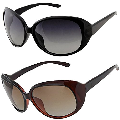 ee66964c9c9 Y S Womens Sunglasses Of 2 Combo Of 2 Sunglass (Black Brown) Wayfarer  Sunglasses For Womens Girls Ladies – (Butterfly-Combo-Black-Brown)