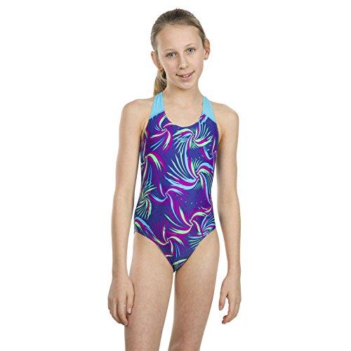 Speedo Mädchen Alle über Splash Rücken Badeanzug, Mädchen, 807386C529, Ultrasonic/Turquoise/Diva/Fake Green, 152