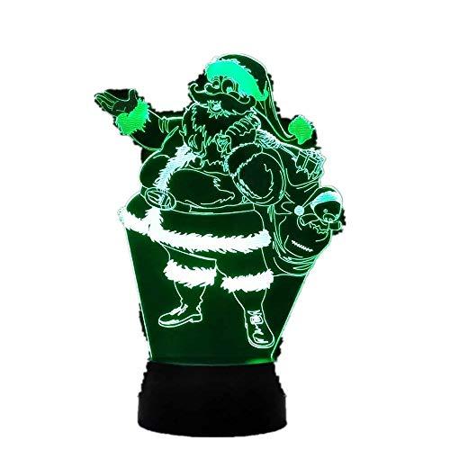 Lámpara de ilusión Wangzj 3d / 7 colores Cambio de luz nocturna/decoración del hogar/Dormitorio acrílico/lámpara de arte led/Papá Noel