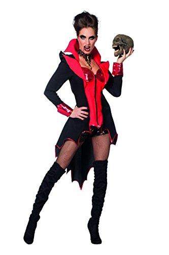 (Wilbers 4257 Damenkostüm Sexy Teufel Pailetten Schwarz Rot Kostüm Damen Karneval Fasching Halloween)