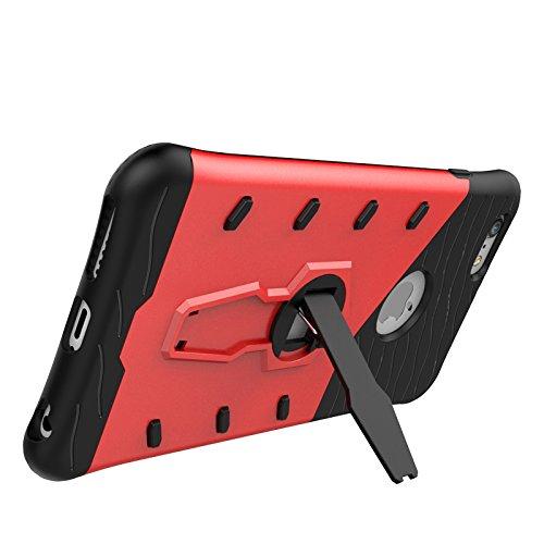 Voguecase® Pour Apple iPhone 7 Plus 5,5, [Dual Layer Design] [Impact Protection] Armour Case Shell Housse Coque Etui avec 360 degrés de rotation Free Kick Support complet de protection [TPU + PC] Case Armour Case-Rouge