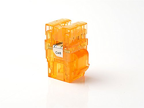 CAT6 RJ45 Transparent Unshielded Keystone Jacks Modul für Faceplate & Wandbox & Patch Panel, 10er / pack (Orange) -