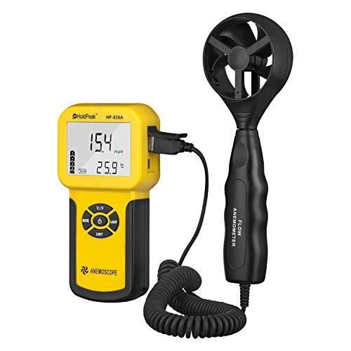Holdpeak 826A Anemómetro Digital, Velocidad del Viento / Metro de la Temperatura, Dispositivo Portátil con Función de Registrador de Datos,℃/℉,Máx / Mín / Promedio / Actual