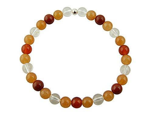 Sunsara Traumsteinshop Edelstein Sternzeichen Armband - Krebs, mit 925er Silber Perle, Heilsteinarmband, Stretcharmband 8053
