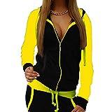 Mxssi Frauen Sportswear Herbst warm Trainingsanzug Zweiteilige Kontrastfarbe Sweatshirt Hose Trainingsanzug Hause Kleidung gelb m