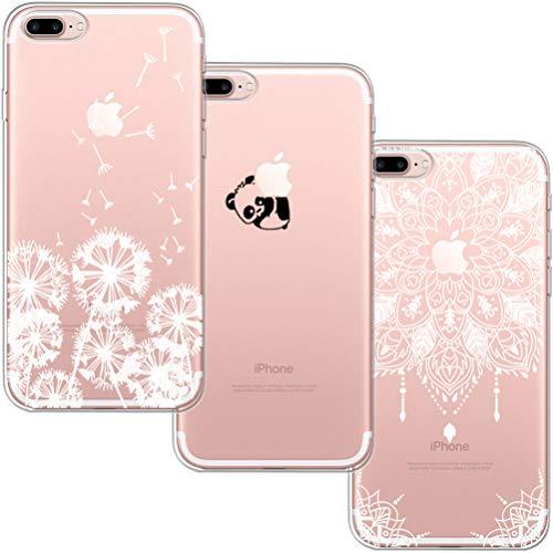 [3 Pack] Funda iPhone 7 Plus,Funda iPhone 8 Plus,Funda de Silicona Blossom01 Ultra Suave Funda TPU Silicona con Dibujo Animado Lindo para iPhone 7/8 Plus - Diente de León Panda Mandala