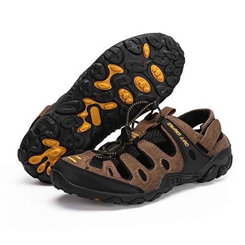 Wasserschuhe,Outdoor Sandalen Sommer Schuhe des Typs Espadrilles Mann Rutschfeste Fluss Meer Maultiere Atmungsaktives Mesh Sport Schuhe - Leder Mesh Maultiere