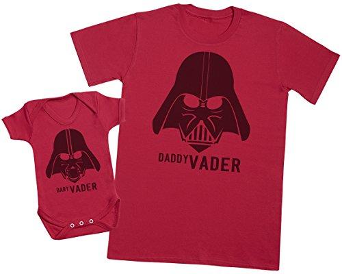 Baby Vader & Daddy Vader - regalo para padres y bebés en un cuerpo para bebés y una camiseta de hombre a juego - Rojo - Small & 12-18 meses