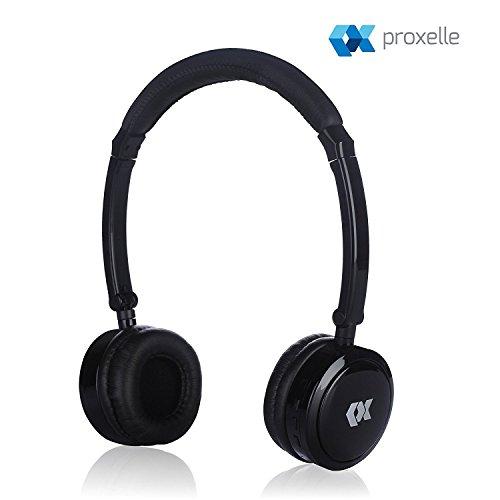 Proxelle Bluetooth Kopfhörer für Kinder,mit Grenze der maximalen Lautstärke, Schutz vor Schade des Hörfähigkeit kabellos leicht faltbar tragbar einstellbar Lautstärke intergriert Mikrofon, Schwarz