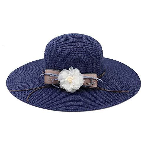 YUXINXIN Weibliche Strohhut Sonnenhut Outdoor Strand Hut Blume Sonnenschutz Visier Bow Sleek Minimalist Big Hat (Farbe : Navy Blue, Größe : 56-58CM)