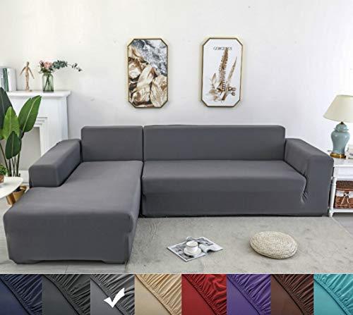 YJOY Sofabezug,L-förmiges Ecksofa mit elastischem elastische Stretch Sofabezug(L-förmiges Ecksofa sollte Zwei kaufen)