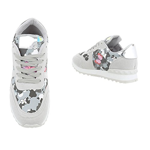 Ital-Design Sneakers Low Damenschuhe Sneakers Low Sneakers Schnürsenkel Freizeitschuhe Grau Multi G-99
