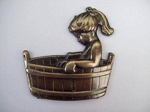 Ironmongery World Metall Girl in Badewanne Badezimmer Toiletten Tür Schilder Old English V.