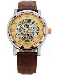 ORKINA YI-WAC14-03-263 - Reloj para hombres, correa de cuero color marrón