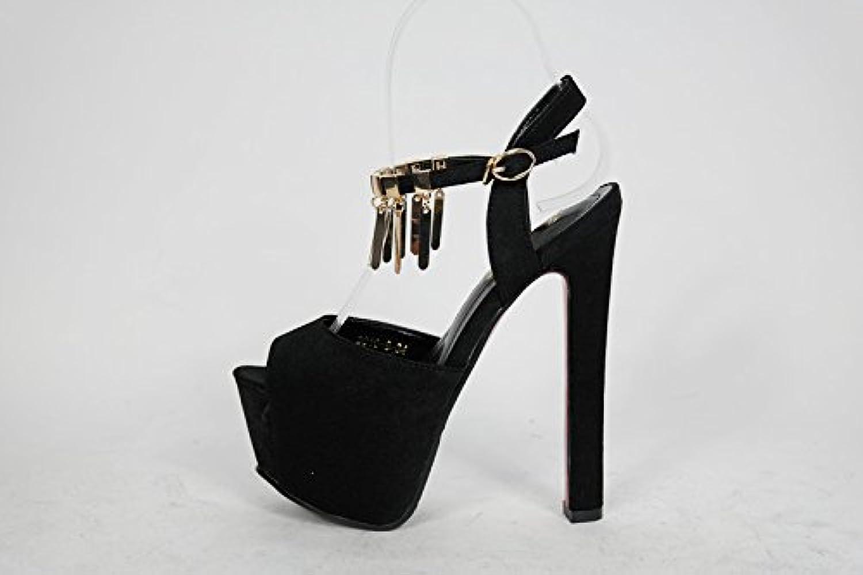 XiaoGao Sandalias negras con sandalias negras y 16 cm de alto talon sandalias. -