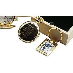 Signed Johnny Cash Pocket Watch Full Hunter and Man in Black Gold Keyring Keyring 24 Carat Gold plated in Luxury Wooden Box Presentation Case