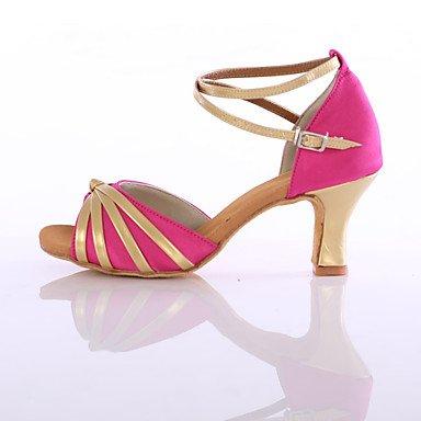 Scarpe da ballo-Personalizzabile-Da donna-Balli latino-americani / Sneakers da danza moderna-Tacco cubano-Raso / Finta pelle-Nero / Rosso fuchsia
