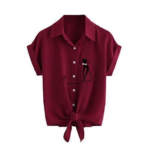 Frauen Nette Katzen Druck T-Shirt Damen Sommer drehen sich unten Kragen Kurzschluss Hülsen Hemd Damen feste Verband Hemd Spitze 2018 (M, Wein Rot) (Streifen-kragen Charmante)