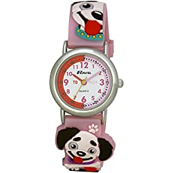 Ravel Puppies 3D Watch with Timeteacher Dial Children's Quartz Watch with White Dial Analogue Display and Multicolour Plastic Strap R151364