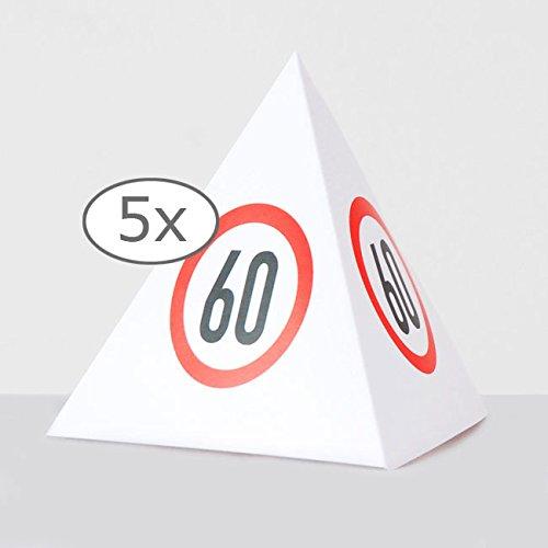 Tischdeko Verkehrsschild-Pyramide 60. Geburtstag 13,5 cm 5er Pack