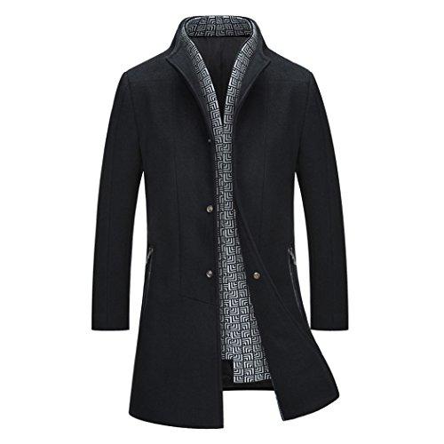 teerfu hommes de laine slim fit long Business Manteau Trench Noir